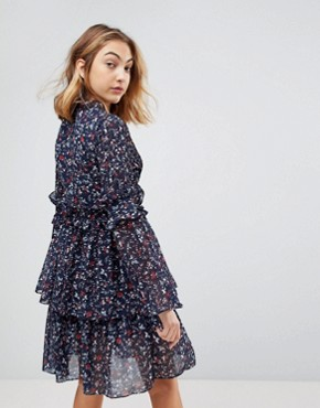 photo Dianna Floral Print Layered Dress by Walter Baker, color Navy Floral - Image 2
