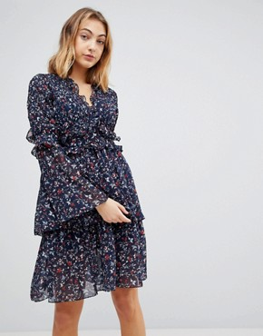photo Dianna Floral Print Layered Dress by Walter Baker, color Navy Floral - Image 1