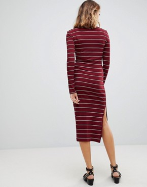 photo Carmella Stripe Roll Neck Midi Dress by Walter Baker, color Burgundy Stripe - Image 2