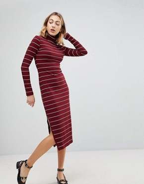 photo Carmella Stripe Roll Neck Midi Dress by Walter Baker, color Burgundy Stripe - Image 1