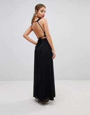 photo Embellished Waist Strap Back Maxi Dress by ASOS PETITE, color Black - Image 2