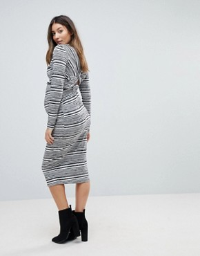 photo Twist Back Bodycon Dress in Stripe by ASOS Maternity, color Grey - Image 2