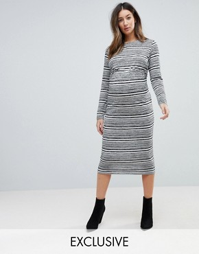 photo Twist Back Bodycon Dress in Stripe by ASOS Maternity, color Grey - Image 1