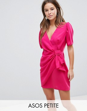 photo Mini Wrap Dress with Belt by ASOS DESIGN Petite, color Dark Fuchsia - Image 1