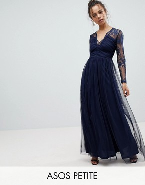 photo Lace Maxi Dress with Long Sleeves by ASOS PETITE, color Navy - Image 1