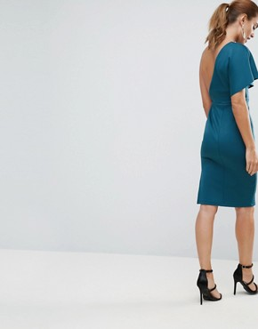 photo Asymmetric One Shoulder Cape Bodycon Midi Dress by ASOS, color Forest Green - Image 2