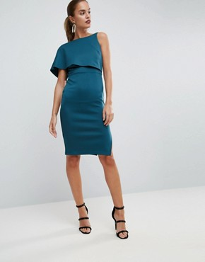 photo Asymmetric One Shoulder Cape Bodycon Midi Dress by ASOS, color Forest Green - Image 1