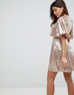 photo Sequin Fluted Sleeve Lace Mini Dress by ASOS, color Nude - Image 2