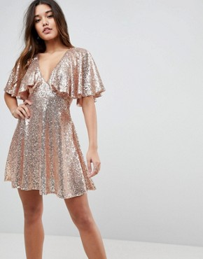 photo Sequin Fluted Sleeve Lace Mini Dress by ASOS, color Nude - Image 1
