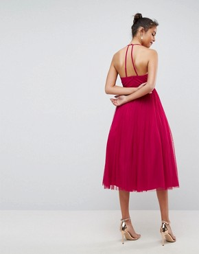 photo Pinny Extreme Tulle Mesh Midi Dress by ASOS, color Magenta - Image 2