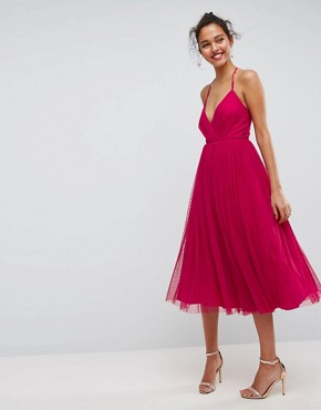 photo Pinny Extreme Tulle Mesh Midi Dress by ASOS, color Magenta - Image 1