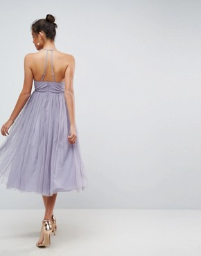 photo Pinny Extreme Tulle Mesh Midi Dress by ASOS, color Dusty Mauve - Image 2