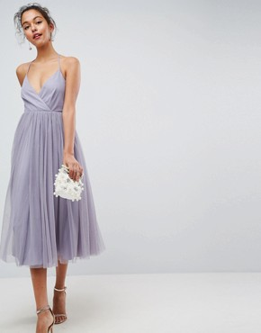 photo Pinny Extreme Tulle Mesh Midi Dress by ASOS, color Dusty Mauve - Image 1