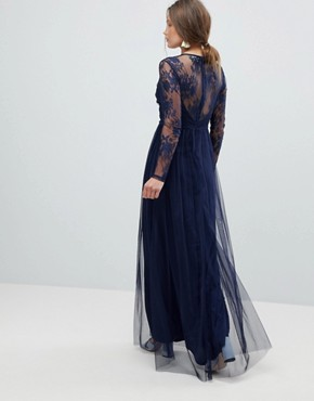 photo Lace Maxi Dress with Long Sleeves by ASOS, color Navy - Image 2