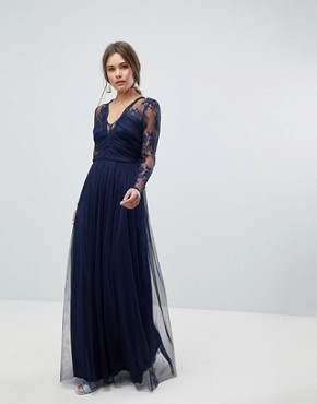 photo Lace Maxi Dress with Long Sleeves by ASOS, color Navy - Image 1