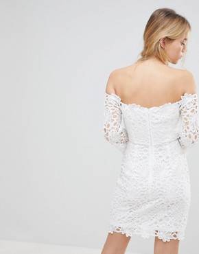 photo Off Shoulder Lace Dress by Glamorous, color White - Image 2