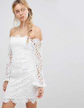 photo Off Shoulder Lace Dress by Glamorous, color White - Image 1