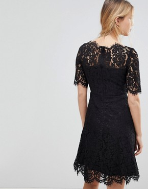 photo Lace Skater Dress by Glamorous, color Black - Image 2