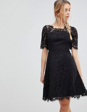 photo Lace Skater Dress by Glamorous, color Black - Image 1