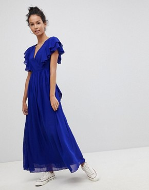 photo Frill Maxi Dress by Glamorous, color Royal Blue - Image 1