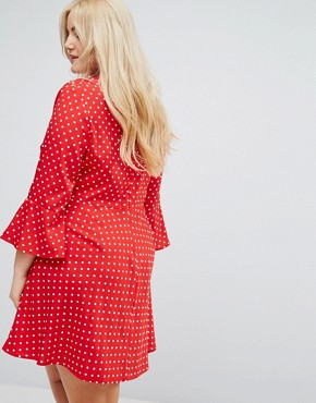 photo Polka Dot Ruffle Wrap Dress by Influence Plus, color Red Polka Dot - Image 2