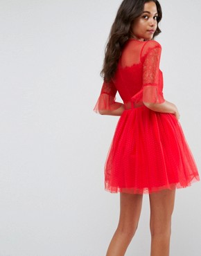 photo Tulle Mini Dress with Lace Sleeves by ASOS, color Red - Image 2