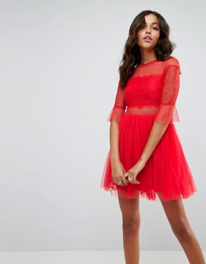 photo Tulle Mini Dress with Lace Sleeves by ASOS, color Red - Image 1