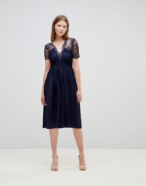 photo Lace Top Midi Dress with Ruched Bodice by ASOS, color Navy - Image 1