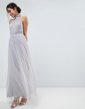 photo Embellished Waist High Neck Tulle Maxi Dress by ASOS, color Soft Grey - Image 1