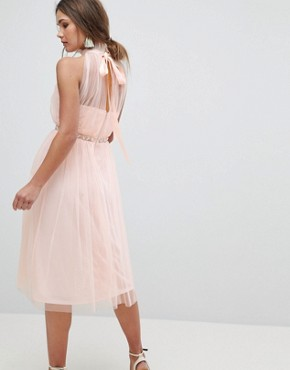 photo Embellished Waist High Neck Tulle Midi Dress by ASOS, color Nude - Image 2