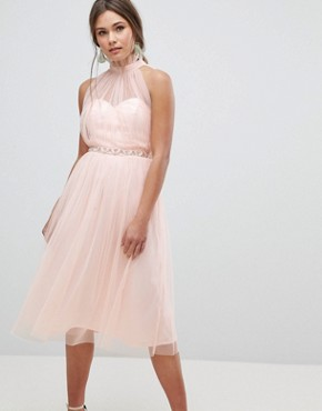 photo Embellished Waist High Neck Tulle Midi Dress by ASOS, color Nude - Image 1