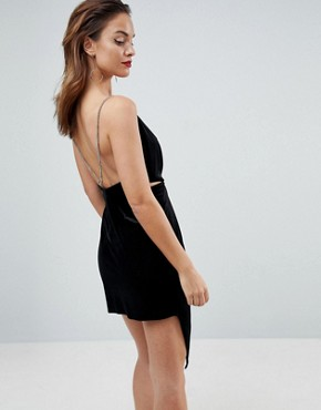photo Velvet Drape Chain Back Midi Dress by ASOS, color Black - Image 2