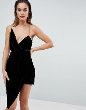 photo Velvet Drape Chain Back Midi Dress by ASOS, color Black - Image 1