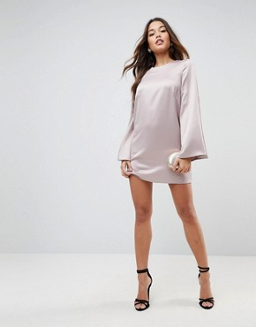 photo Extreme Sleeve Satin Mini Dress by ASOS, color Rose Gold - Image 1