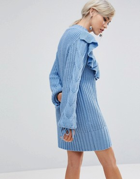 photo High Neck Jumper Dress with Ruffle Trim by Lost Ink, color Baby Blue - Image 2
