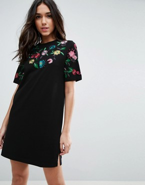 photo T-Shirt Dress with Embroidered Yoke by ASOS, color Black - Image 1