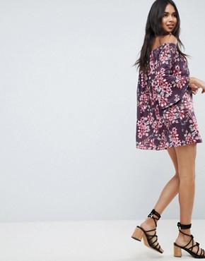 photo Off Shoulder Mini Dress with Trumpet Sleeve in Floral Print by ASOS DESIGN, color Floral Print - Image 2