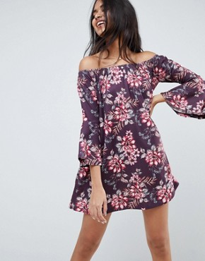 photo Off Shoulder Mini Dress with Trumpet Sleeve in Floral Print by ASOS DESIGN, color Floral Print - Image 1