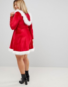 photo Hoodied Sexy Santa Christmas Dress by Club L Plus, color Red - Image 2