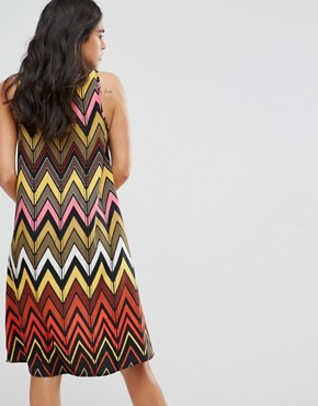 photo Seville Dip Hem Swing Dress in Chevron by Brave Soul, color Multi - Image 2