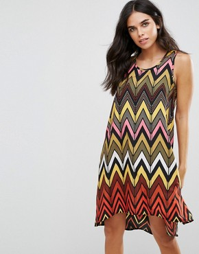 photo Seville Dip Hem Swing Dress in Chevron by Brave Soul, color Multi - Image 1