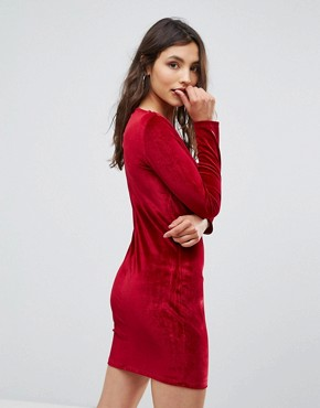 photo Velvet Dress by Oeuvre, color Red - Image 2