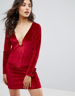 photo Velvet Dress by Oeuvre, color Red - Image 1