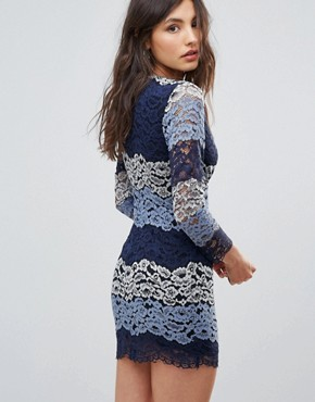 photo Multicolour Lace Dress by Oeuvre, color Blue - Image 2