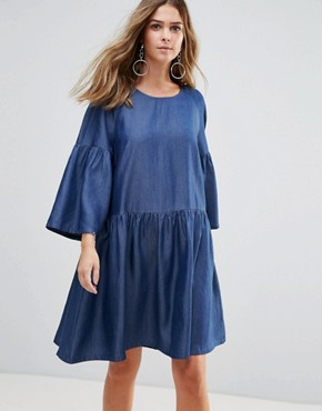 photo Wang Flared Sleeved Dress by Just Female, color Light Blue - Image 1