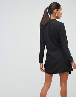 photo Mini Wrap Dress with Tab Side Detail by ASOS, color Black - Image 2