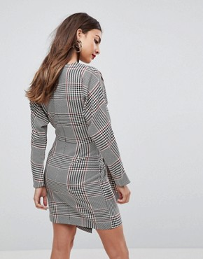 photo Checked 80's Mini Dress with Circle Belt by ASOS, color Multi - Image 2