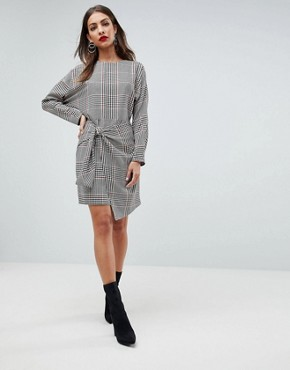 photo Checked 80's Mini Dress with Circle Belt by ASOS, color Multi - Image 4