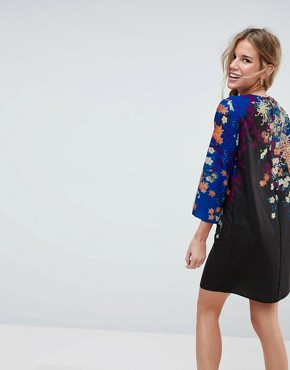 photo Mini Shift Dress in Floral Print by ASOS, color Multi - Image 2
