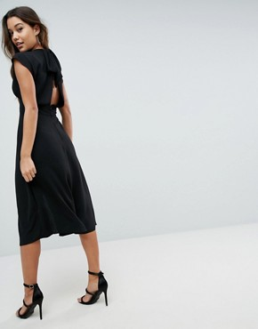 photo Button Through Midi Dress with Bow Back Detail by ASOS, color Black - Image 2